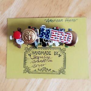 """""""American Hero"""" handmade pin"""